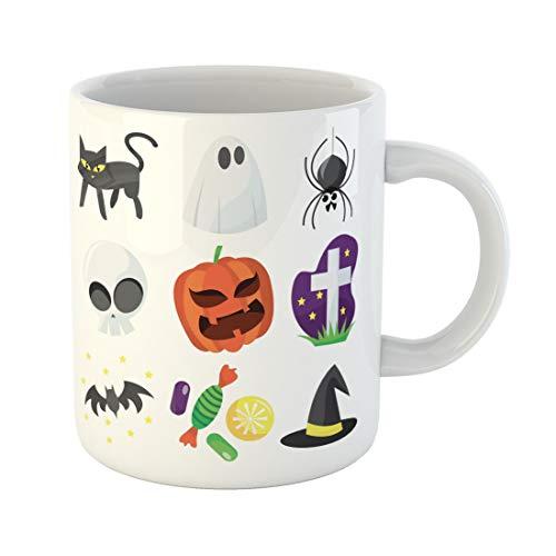 (Semtomn Funny Coffee Mug Bat Cartoon of Cute Halloween Black Candy Cat Costumes 11 Oz Ceramic Coffee Mugs Tea Cup Best Gift Or)