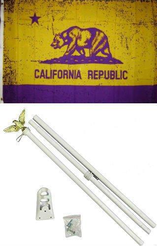 3x5 State of California Purple Gold Flag White Pole Kit Set