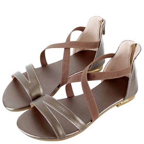 TAOFFEN Mujer Comodo Criss Zapatos Punta Abierta Cremallera Solido Plano Sandalias Champan