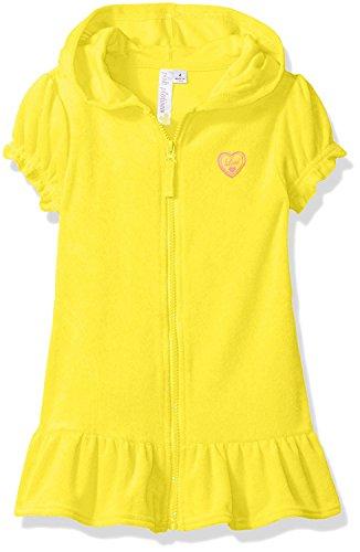 Girls Terry Cloth - Pink Platinum Big Girls' Hooded Terry Swim Cover Up, Lemon, 10/12