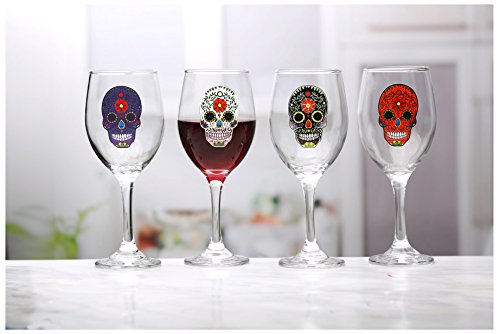 Circleware 76967 Sugar Wine Glasses with Black/White/Purple/Orange Skulls, Set of 4, 13 oz, -