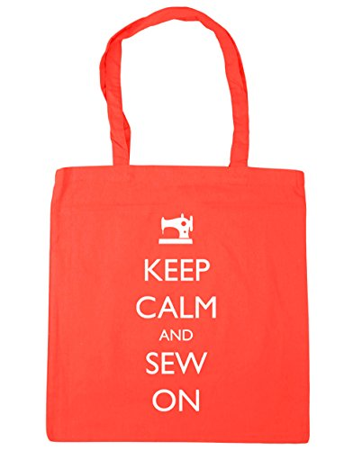 Gym Calm Sew Tote On 42cm x38cm and litres Coral Shopping Keep HippoWarehouse 10 Beach Bag q5gt00