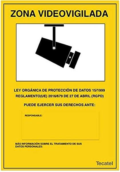 Cartel de zona videovigilada LOPD: Amazon.es: Electrónica