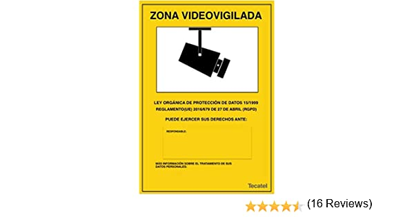 Cartel de zona videovigilada PVC intemperie 30x21cm Apto ...