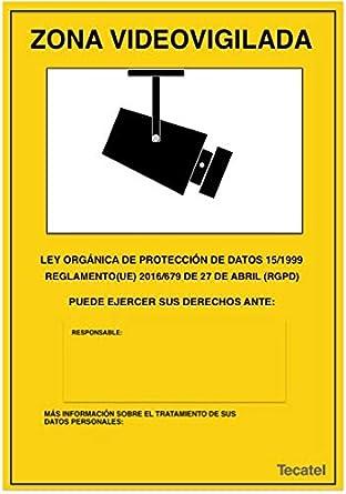 Cartel de zona videovigilada PVC intemperie 30x21cm Apto Nuevo Reglamento (1 UNID)