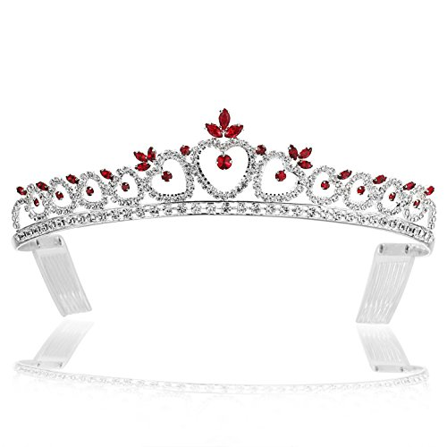 SAMKY Hearts Design Rhinestone Crystal Tiara Crown - Silver Plated Red Crystals T371]()