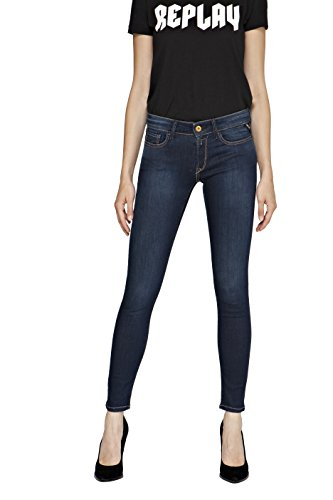 Replay Women's Jean Dark Indigo Power Stretch Denim in Size 27W 30L Blue (Women Jeans Replay)