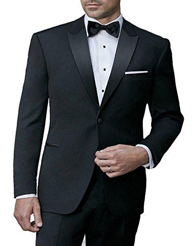 MODERN FIT Men's 100011 SOLID BLACK ONE BUTTON TUXEDO SUIT WITH PEAK LAPELS - Black - (Wash Wool Suit)