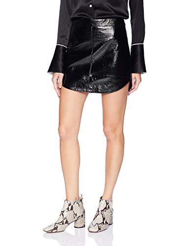 100% Leather Skirt - BB Dakota Women's Conrad Leather Skirt, Bordeaux, 2