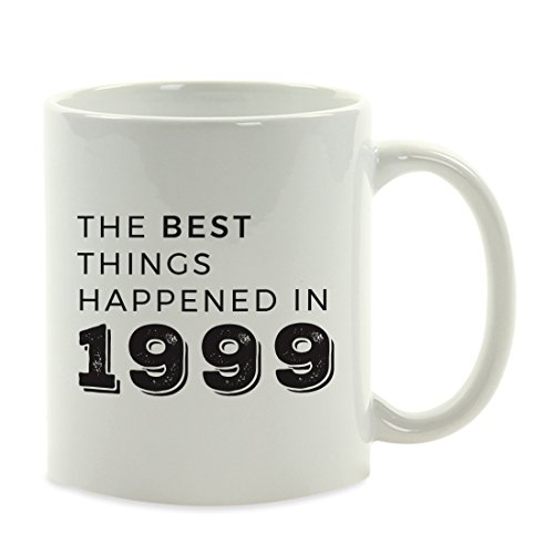Andaz Press 11oz. Birthday Milestone Coffee Mug Gift, The Best Things Happened in 1999, 1-Pack, 19th, 20th, 21st, 22nd Birthday, Anniversary Ideas for Him or Her ()