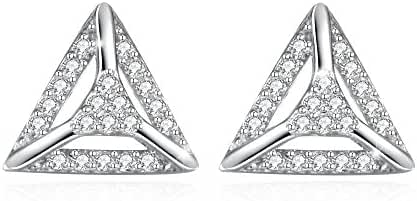 Jasellia 18K White Gold Plated Sterling Silver Cubic Zirconia 3D Triangle Fashion Stud Earrings