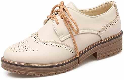 264a96267 Vimisaoi Womens Vintage Wingtip Platform Cuban Brogues Oxfords, Block Mid  Heel Lace-up Perforated