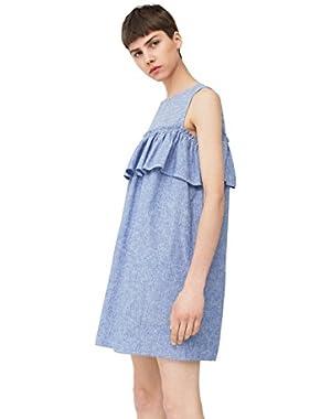 Mango Women's Ruffled Linen Dress