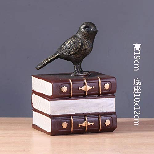 Chocolatecolord Book Bird Willower Creative Violin, Piano, Guitar, Handicraft, Home Jewelry Model,Army Green golden Retro Balance