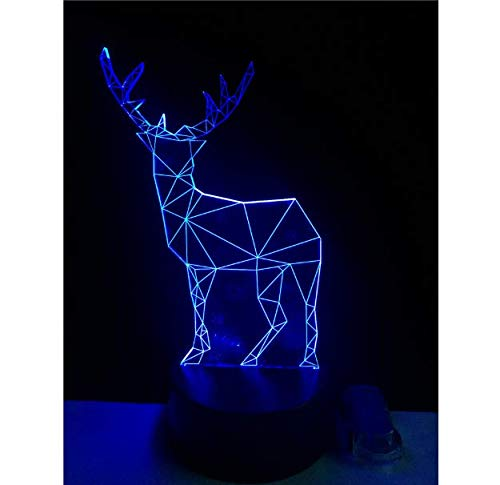 Amroe New 2018 Christmas Deer 3D Mesa Lampara de escritorio Decoracion del hogar Luz Nocturna 7 cambio de color LED dormitorio de boda salon Ninos Regalo