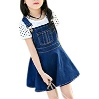 Little Big Girls Kids One Piece Classic A-Line Front Bib Mini Denim Overall Dress Jeans Skirt