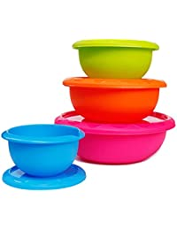 Favor Honla Plastic Mixing Bowls with Lids,Pour Spout&Curved Lip,1,2,3 and 5 Quart-Set of 4-Blue/Lime Green/Orange/Pink-for... compare