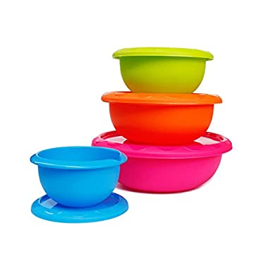 Honla Plastic Mixing Bowls with Lids,Pour Spout&Curved Lip,1,2,3 and 5 Quart-Set of 4-Blue/Lime Green/Orange/Pink-for Serving Pasta,Salad,Party Snack,Dessert-Nesting Cooking/Baking Storage Containers