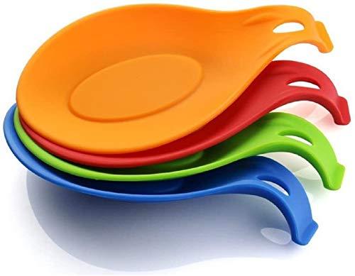 iNeibo Kitchen Silicone Spoon Rest, Flexible Almond-Shaped, Silicone Kitchen Utensil Rest Ladle Spoon Holder