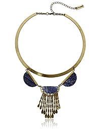 "Steve Madden Crescent Stone Metal Collar Necklace, 15"" + 4"" Extender"
