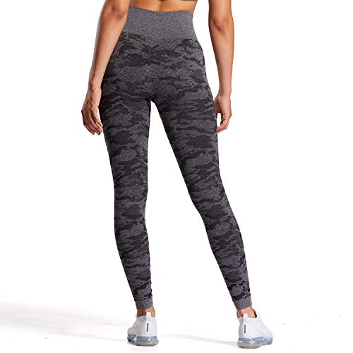 Aoxjox Yoga Pants for Women Workout High Waisted Gym Sport Camo Seamless Leggings (Camo/Black Charcoal, X-Large)