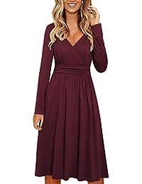 Women's Long Sleeve V Neck Wrap Waist Casual Party Midi Dress with Pockets
