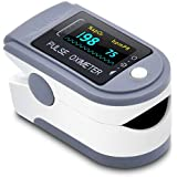 Oximeter Blood Oxygen Saturation Monitor,Heart Rate and Fast Spo2 Reading Oxygen Meter with OLED Screen Batteries and Lanyard (Blue)
