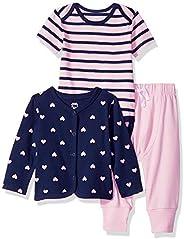 Amazon Essentials Baby Girls 3-Piece Cardigan Set