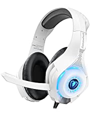 Beexcellent Gaming Headset for PC Xbox One, PS4 Headset with 3D Surround Sound Noise-Cancelling Microphone, Volume Control LED Light Soft Memory Earmuffs for PS5 Laptop Mac Mobile