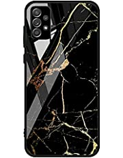 For Samsung Galaxy A32 4G Case marble pattern tempered glass Back Cover (Black & Orange)