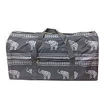 NDN22-ele-GW Grey white Elephant Gym Dance Cheer Duffel Bag (21in)