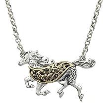2 Tone Running Horse Western Theme Filigree Swirl Necklace