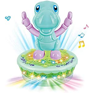ICCUN Multi-Color Cartoon Animals Spinning Flash Light Music Toy for Girls Boys Kids Toddlers