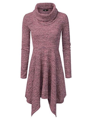 NINEXIS Womens Cowl Neck Long Sleeve Flowy Sweater Dress MAUVE XL
