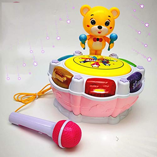 LIPENG-TOY Children's Music Bear Dance Drum Baby Puzzle Early Education Pat Drum Can Be Charged with Microphone Parent-Child Interactive Toys (Color : Pink) by LIPENG-TOY (Image #3)