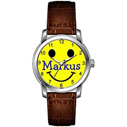 JLS Creative Watches Men's Vintage Design Leather Brown Band Wrist Watch Boys Watches Smiley Face