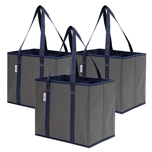 Reusable Grocery Bags Shopping Box Bag (3 Pack) | Collapsible, Durable, Foldable, Heavy Duty Premium Reusable Shopping Bags Tote Box Set for Groceries, Trunk Organizer and Home Storage (Navy/Grey)