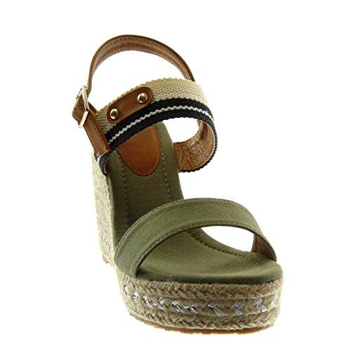 Angkorly Zapatillas Moda Sandalias Alpargatas Correa de Tobillo Plataforma Mujer Cuerda Trenzado Tachonado Plataforma 11 cm Verde