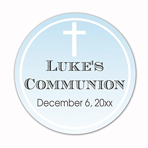 (40 Personalized Stickers Blue Sky Design Thank You Party Favor Holy Communion Religious Event Gift)
