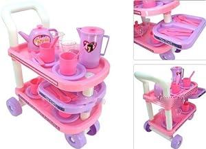 Amazon.com: NEW 29pc Kids Childs Tea Cart Deluxe Set Pretend Toy: Toys