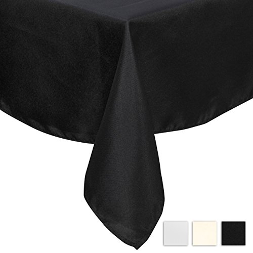 Lightweight Tablecloth Polyester Table Linen, Stain Resistant, Washes Easily, Great for Thanksgiving, Christmas, Family Dinner, Wedding, Parties, Restaurant, Banquet (BLACK, Square 90