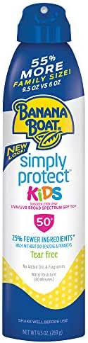 Banana Boat Simply Protect Sunscreen Lotion Spray for Kids, SPF 50+, Tear Free, 25% Fewer Ingredients, 9.5 Ounce Family Size