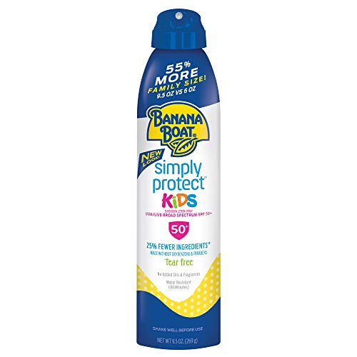 - Banana Boat Simply Protect Sunscreen Lotion Spray for Kids, SPF 50+, Tear Free, 25% Fewer Ingredients, 9.5 Ounce Family Size