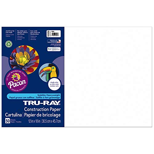 Pacon Tru-Ray Construction Paper, 12-Inches by 18-Inches, 50-Count, White (103058)