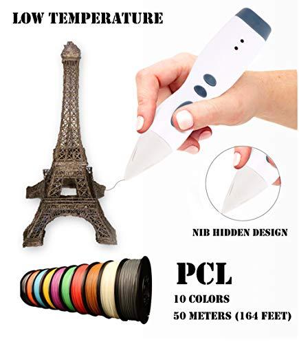 HiPlay 3D Pen for Kids-Low Temperature, Nib Hidden Design-Bonus 10 Colors 164 Feet PCL Filament, Safe & Easy to Use, 3D Printing Pen for Children/Beginners (Blue)