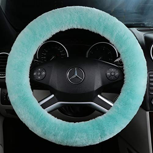 ANDALUS Car Steering Wheel Cover, Fluffy Pure Australia Sheepskin Wool, Universal 15 inch (Mint ()