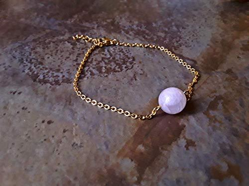 Round Pink Kunzite Minimalist Chain Bracelet Gold