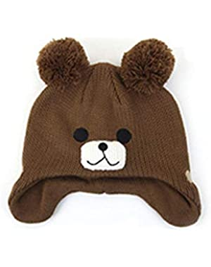 Child Hat for Baby and Children's Winter Knitted Hat Warmth Cartoon Small Bear Knitting Woolen Pullover Ear Cap