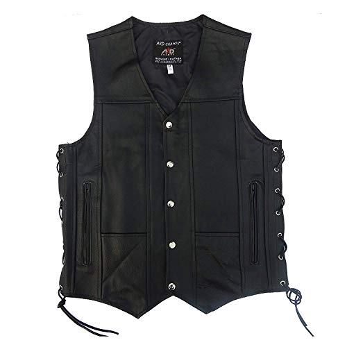 2Fit Men's Black Genuine Leather 10 Pockets Motorcycle Biker Vest New S to 9XL (X-Small) (Womens Leather Vest Black)