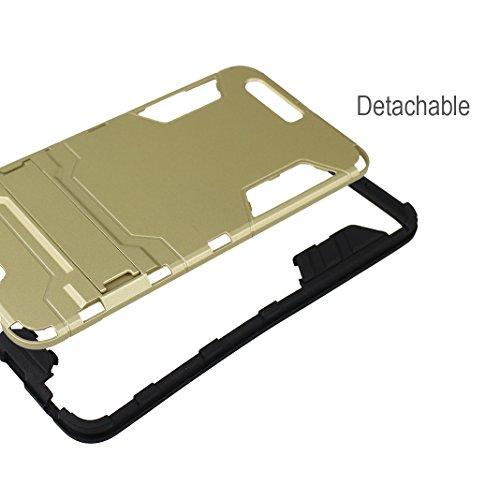 "Rosa Schleife Ultra Delgada Huawei P10 Plus Funda de Protección Híbrido Armadura Escabroso Caso Doble Capa Carcasa Trasera Función de Soporte Funda de Móvil Para Huawei P10 Plus (5.5""), Plata Oro"